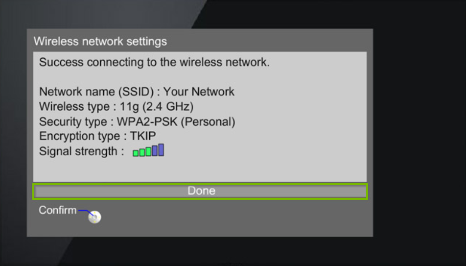 Panasonic TV wireless network settings menu displaying a successfully connected confirmation message with a summary of network information being used.