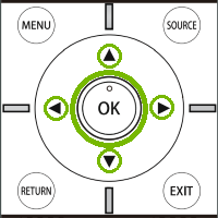 Element remote with arrow and OK keys highlighted. Illustration