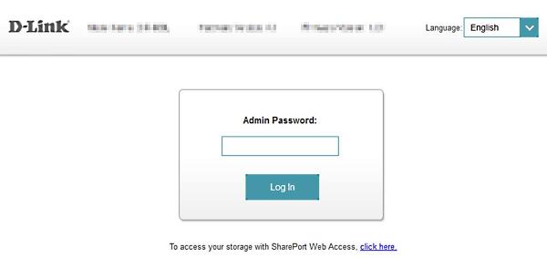 D-Link router admin login screen.
