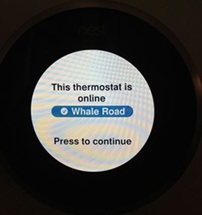 Nest thermostat successfully connected to a Wi-Fi network.
