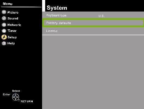 Panasonic TV setup menu with the factory defaults option highlighted.