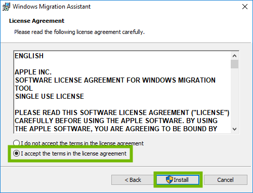 Migration Assistant EULA with accept and Install highlighted.