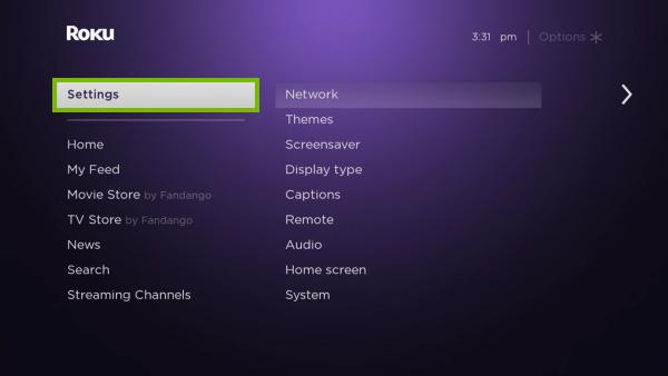 Settings option highlighted in Roku menu.