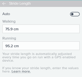 Fitbit stride lengths