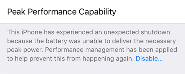 Performance management features have been applied to your device.