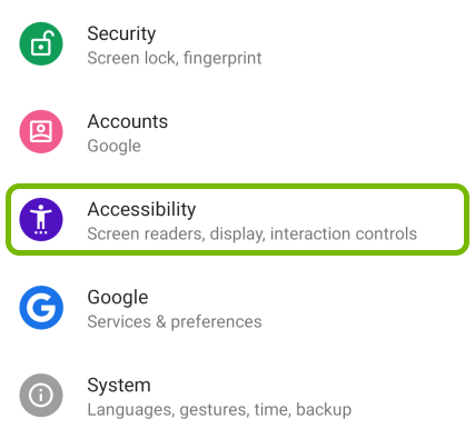 Accessibility option highlighted in Android settings.