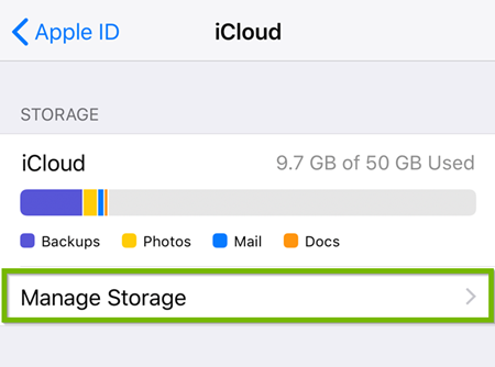 iOS icloud stroage settings showing manage storage selected