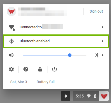 screenshot of the user menu with bluetooth highlighted