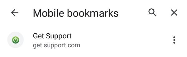 Bookmarks list.