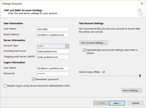 Testing and checking your account settings