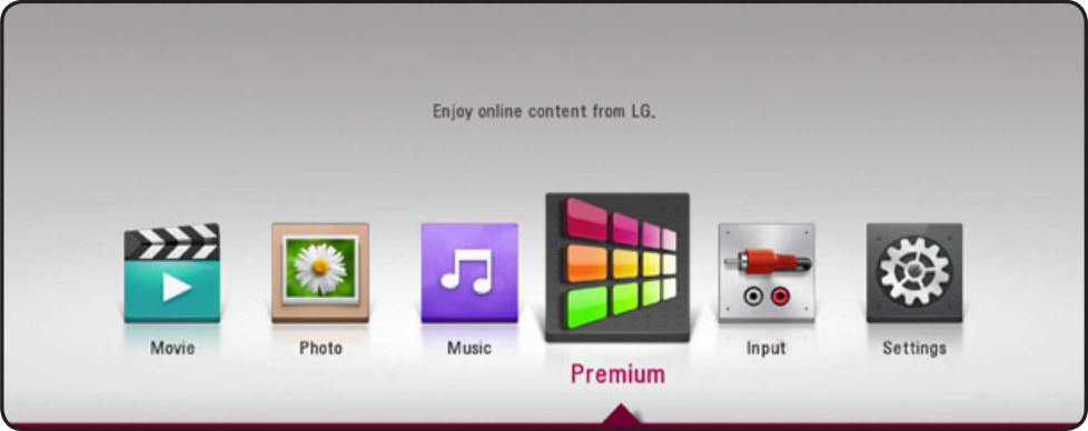 Premium option selected on LG home screen.