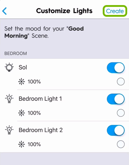 Create option highlighted in lights customization screen of C by GE app.