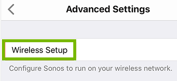 screenshot of advanced settings with wireless setup highlighted