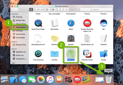 Screenshot of the macOS finder interface highlighting the applications option in the left-hand column, the application or folder the user wishes to remove, and the trash bin icon within the dock across the bottom of the screen.
