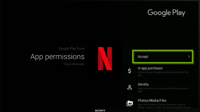 Netflix being installed