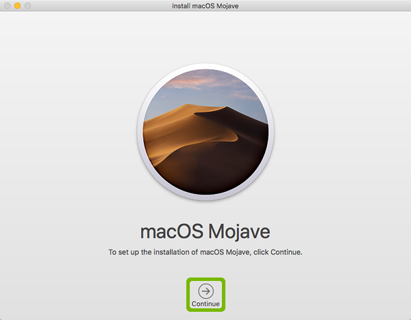 Mojave installer with Continue highlighted.