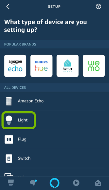 Light bulb highlighted in device selection list of Alexa app.