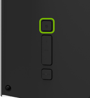 Power button highlighted on rear of VIZIO TV.