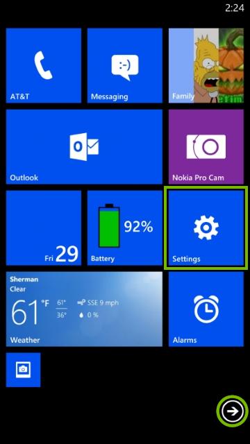 Start screen of Windows phone