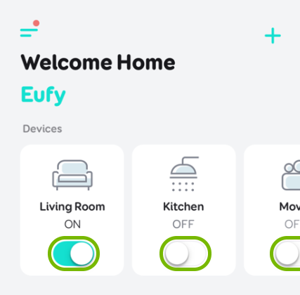 Toggle switches highlighted on plug tiles in EufyHome app.