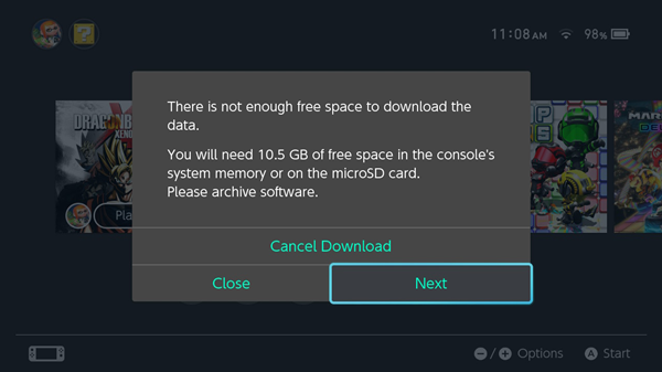 Nintendo switch needing to free up space