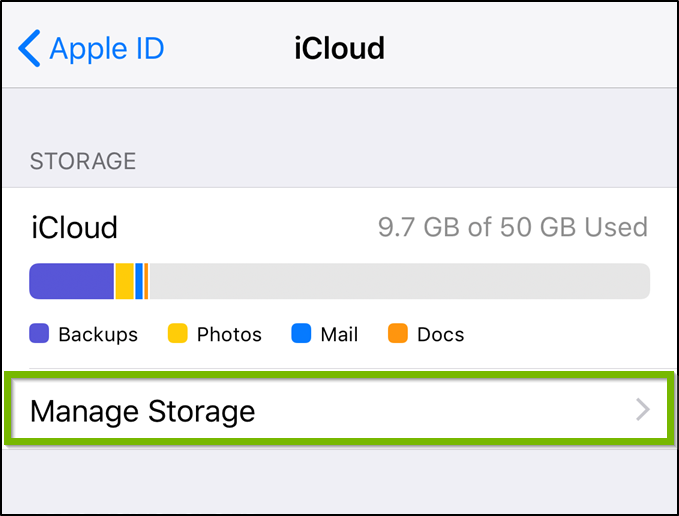 iCloud settings highlighting the manage storage option.