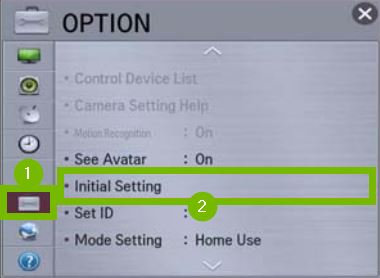Options menu with Initial Settings selected. Screenshot.