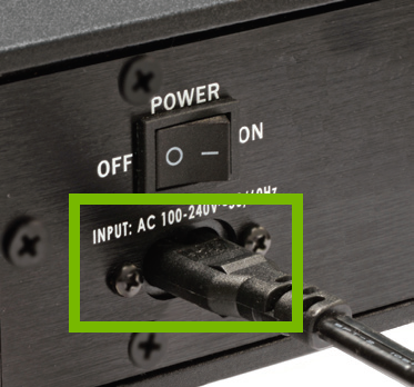 speaker power plug highlighted on back of sound bar