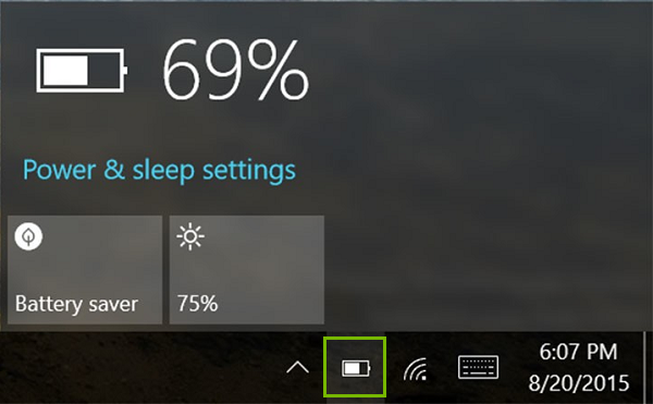 Windows 10 battery icon. Screenshot