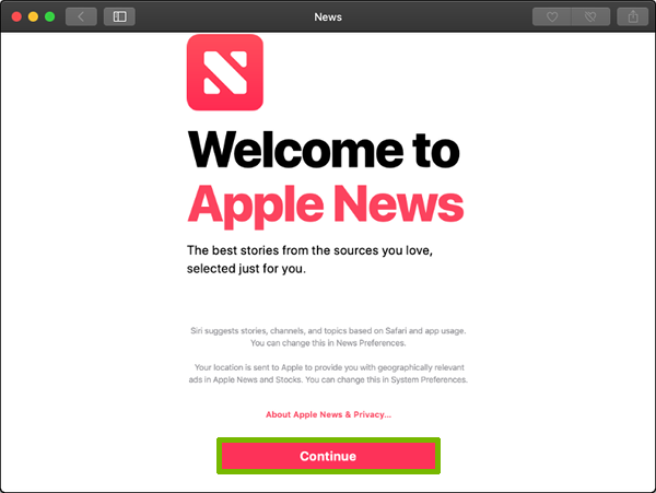 News welcome screen with Continue highlighted.