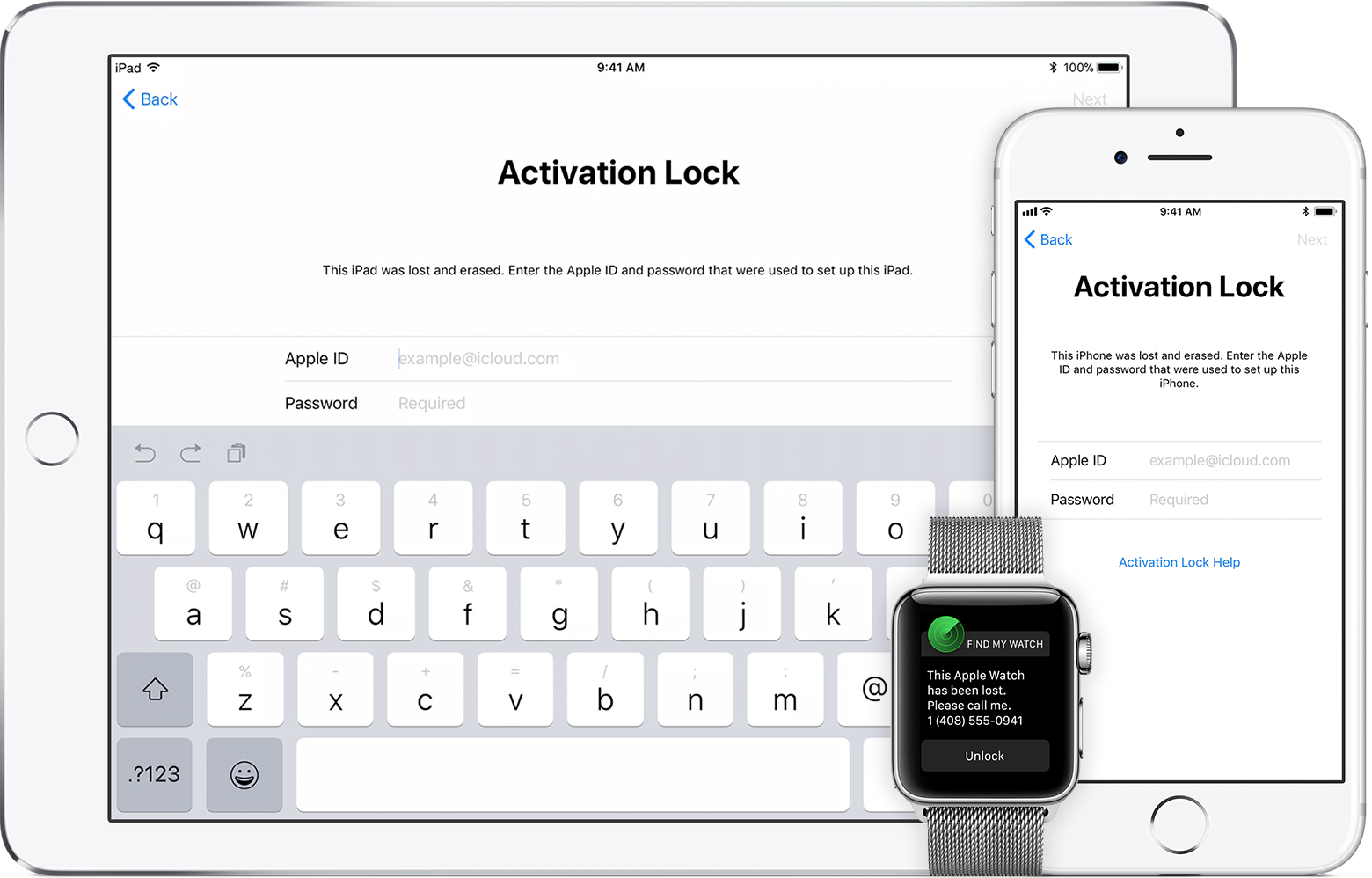 iPhone, iPad and Apple watch displaying activation lock screens.