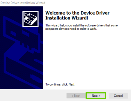 Installer begins with next