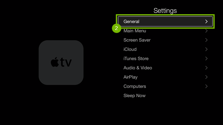Settings screen with General option highlighted.