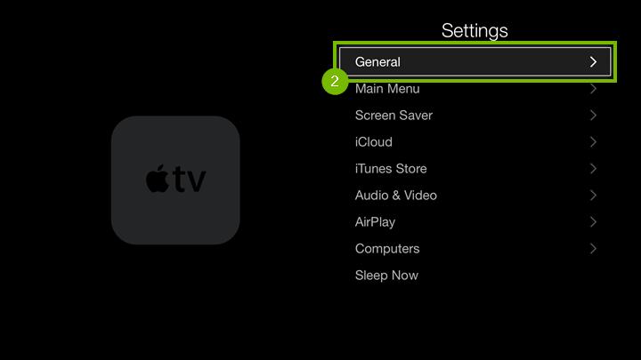 Apple TV Settings menu highlighting the General option.