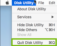 Disk Utility menu with Quit Disk Utility highlighted.