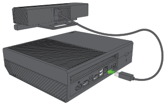 Kinect being plugged into Xbox One.