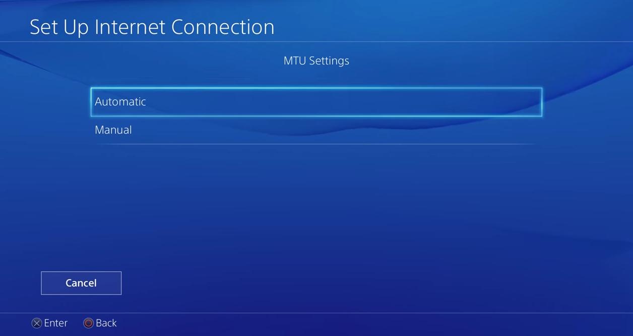 PS4 MTU settings set to autmatic