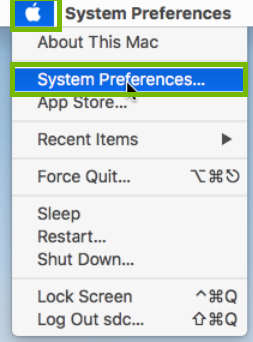 Apple meni with System Preferences highlighted. Screenshot