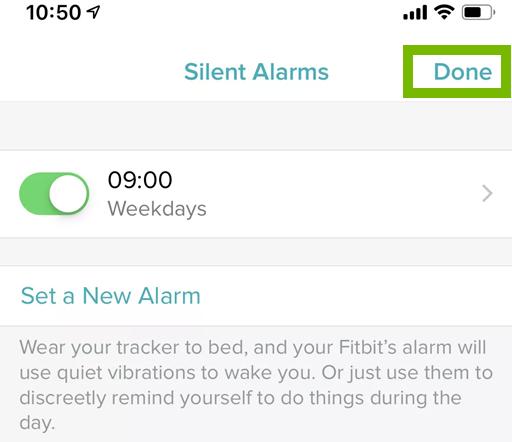 Fitbit alarm saved