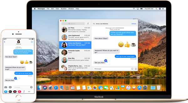macOS system and iphone with messages on it
