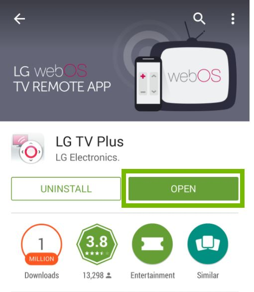Installed LG TV Plus app with Open button selected. Screenshot.