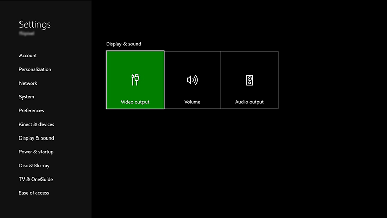 Display and Sound settings with Video output selected. Screenshot.