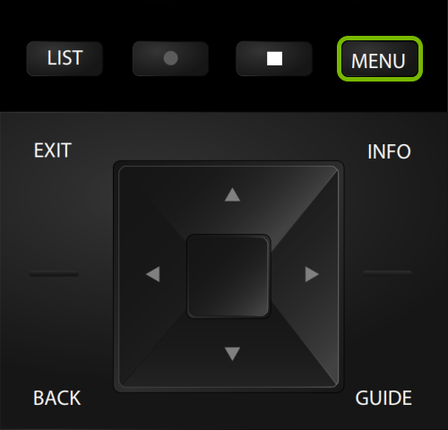 Menu button highlighted on VIZIO TV remote.