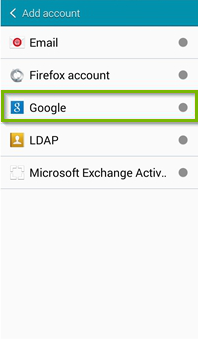 Account type screen with Google selected. Screenshot.