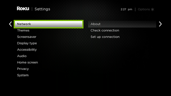 Network option highlighted in Roku settings.