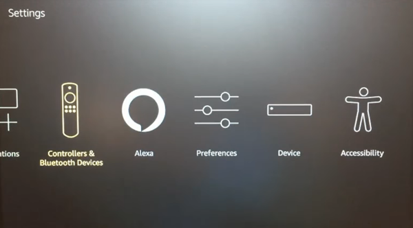 Fire TV settings menu with Controllers and Bluetooth selected. Screenshot.