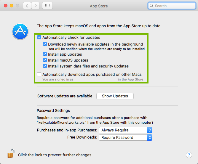 App Store settings with update options highlighted