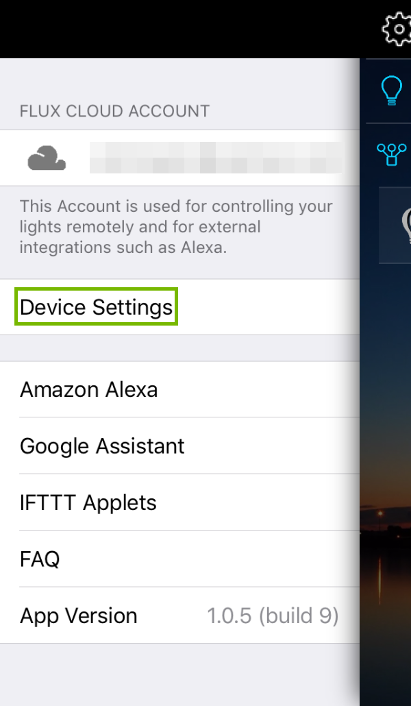 Flux WiFi Pro main menu with Device Settings highlighted