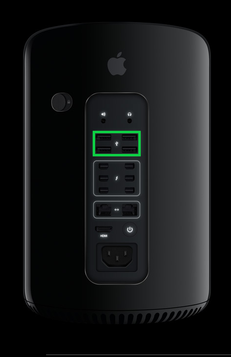 Apple Mac Pro with U S B ports highlighted