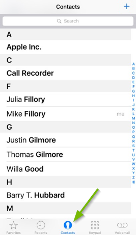Contacts pointed out in iOS Phone app.